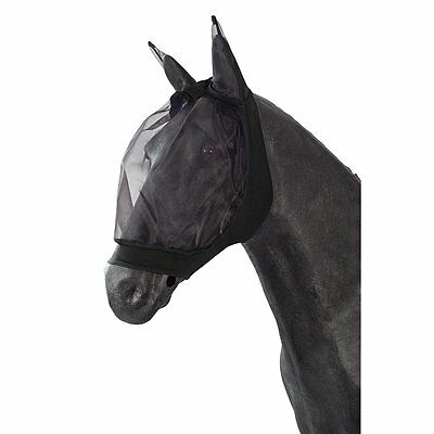 PFIFF Fliegenmaske für Pferde - schwarz - Pony Fliegenhaube Maske Fliegenschutz