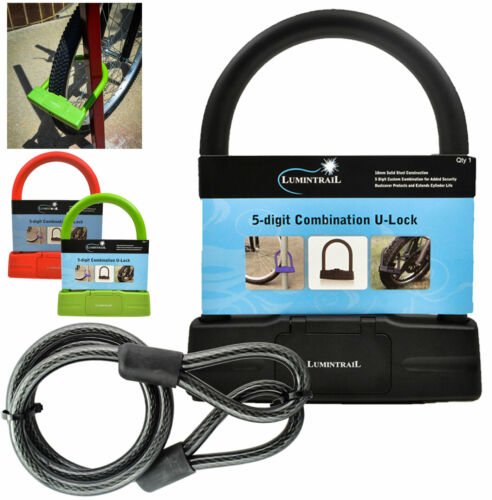 Lumintrail 18mm Combination Bike U-Lock with 4 ft Braided Steel Cable Heavy Duty