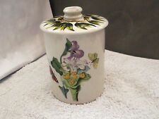PORTMEIRION BOTANIC GARDEN LIDDED JAR WITH A LILY AND BUTTERFLY   PATTERN