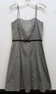 ABS-ALLEN-SCHWARTZ-6-Black-White-Ribbon-Bow-Empire-Waist-Spaghetti-Strap-Dress