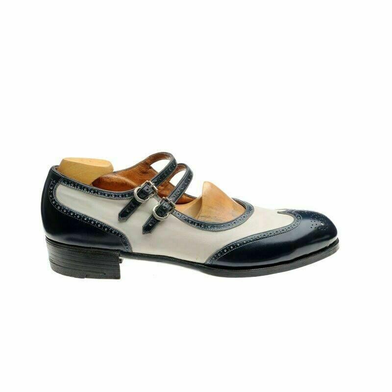 migliore marca Donna  Bespoke Handmade Two Tone Oxford Brogue Two Two Two Strap Buckle Wingtip scarpe  risparmia fino al 50%