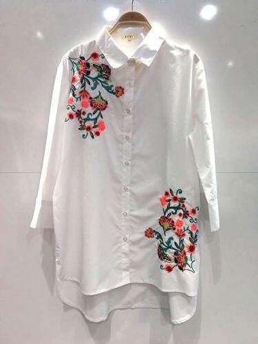 New Women Ladies summer Top shirt flower embroidery long sleeves shirt collar
