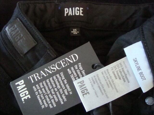 NWT PAIGE SKYLINE BOOT TRANSCEND Stretch Jeans W2139 SHADOW Made in USA Sz 25