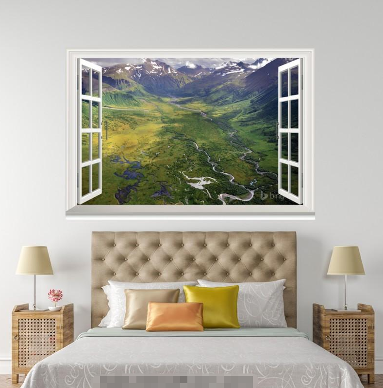 3D Mountain Field 88 Open Windows WallPaper Murals Wall Print Decal Deco AJ WALL