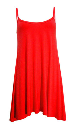 LADIES CAMISOLE FLARED SKATER TOP WOMENS STRAPPY CAMI VEST TOP SWING MINI DRESS