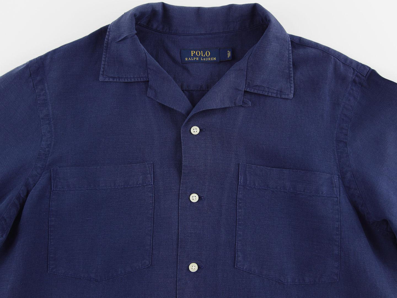 Men's RALPH LAUREN Navy bluee Linen Silk S S Short Sleeve Shirt Small S NWT NEW