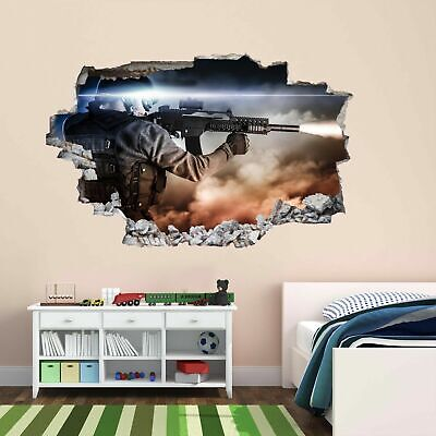 Huge 3D Window view Army Fighters Sniper Wall Sticker Decal Wallpaper 906