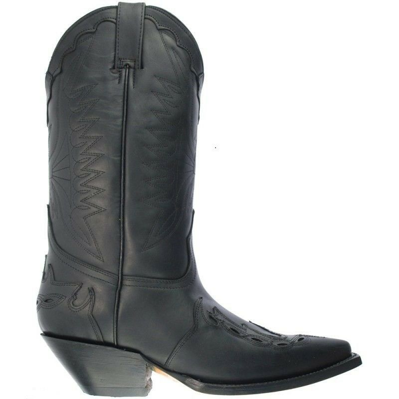 Grinders Arizona Cowboy Western Black Leather Boots Knee High Boot West Biker