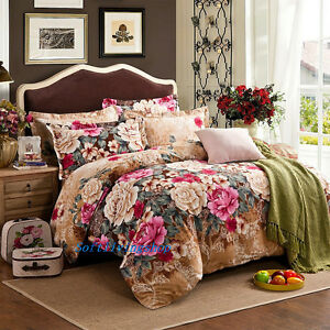Floral-Brown-Quilt-Doona-Duvet-Cover-Set-Single-Double-Queen-King-Bed-Cotton