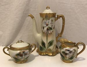 Theodore Haviland Limoges France Beautiful Coffee Pot, Creamer, Sugar Bowl
