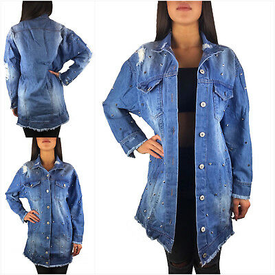 more photos f1519 1c2ad DAMEN JEANSJACKE LANG SOMMER OVERSIZE BLAU DESTROYED JACKE DENIM MANTEL  BLOGGER | eBay