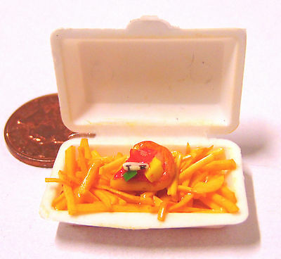 1:12 Scale Take Away Pizza & Chips - Fries Dolls House Miniature Food Accessory