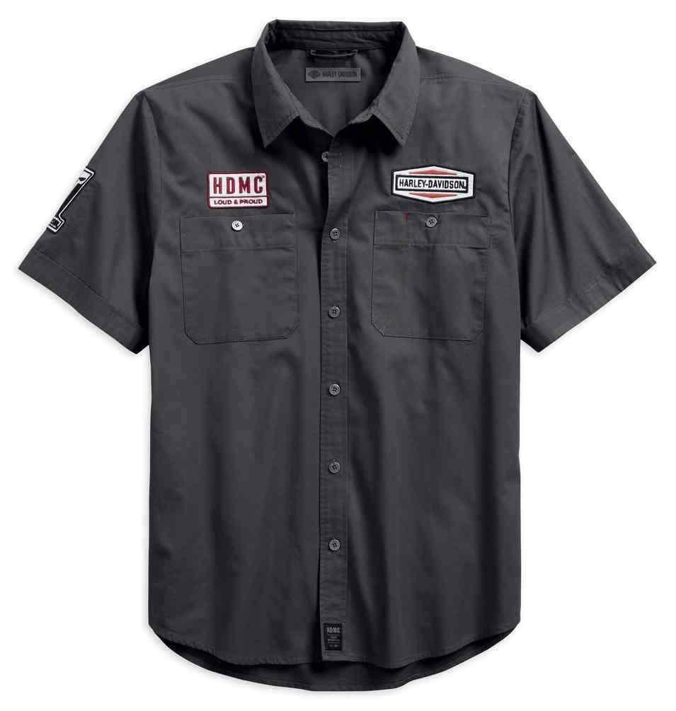 Harley-Davidson Men's Skull Patch Slim Fit Short Sleeve Shirt 99081-18VM