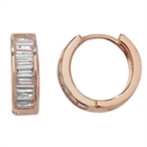 Argento-placcato-oro-rosa-Zircone-Cubico-orecchini-attaccati