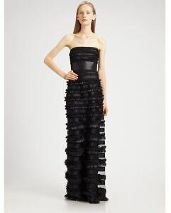 BCBG-Makayla-Strapless-Long-Black-Ruffle-Dress-MSRP-498-00-Size-0-NWT