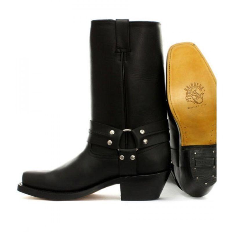 Grinders Harness Hi Negro Hombres Cowboy Western botas Biker Classic Full Leather botas Western 738095