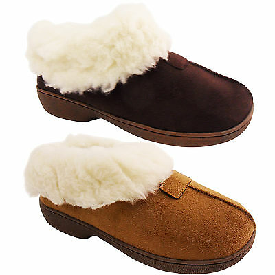 Nuevo Para Mujer Damas Forrado De Piel Suela Dura Zapatillas Zapatos bajo la cuña del talón de invierno cálido
