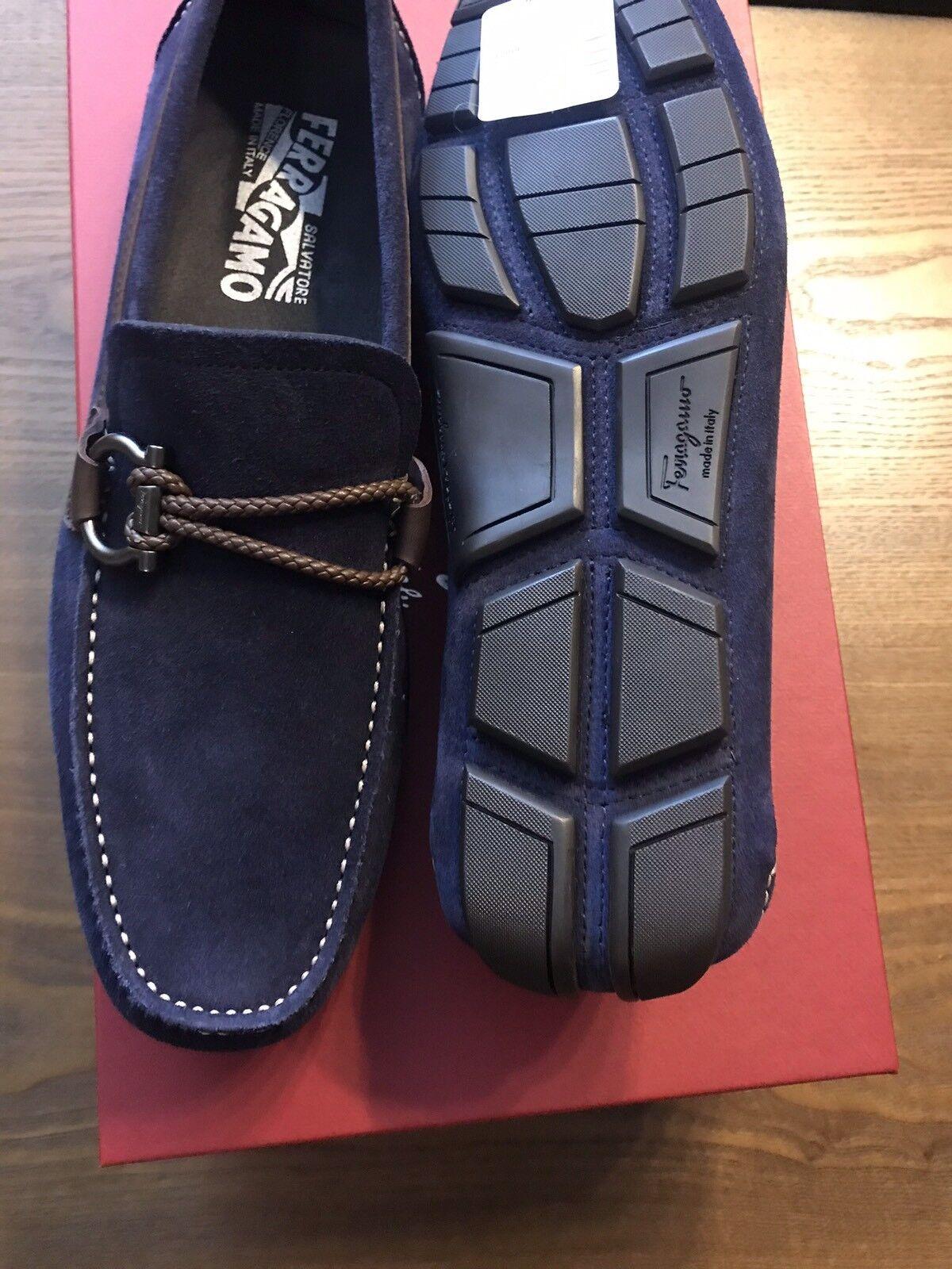 New Salvatore Ferragamo Navy Blue Blue Navy Suede Shoe Driver Moccasin Logo Gancio 7.5 650 52b454