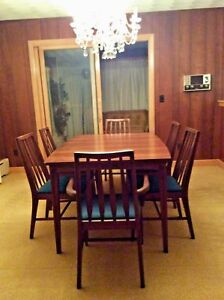 Details About Vintage Mid Century Modern Dining Set Table 3 Leafs 6 Chairs W Fabric Euc