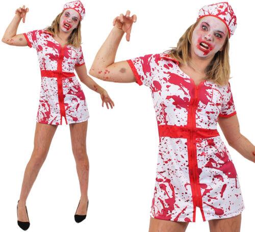 LADIES BLOODY NURSE UNIFORM HALLOWEEN FANCY DRESS COSTUME ZOMBIE OUTFIT