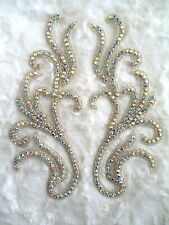 "XR24 Crystal AB Rhinestone Appliques Mirror Pair Motifs 8"" Bridal Sash Patches"