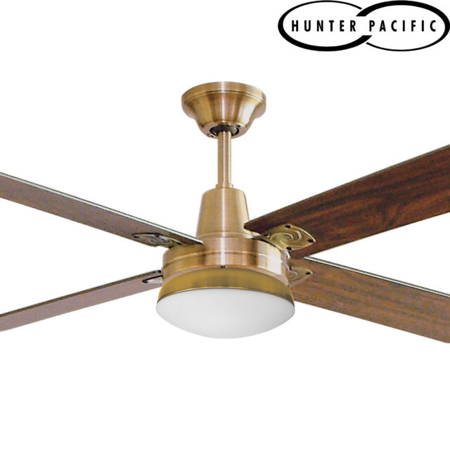 "HUNTER PACIFIC TYPHOON TIMBER 52"" 1300mm CEILING FAN WITH LIGHT - ANTIQUE BRASS"