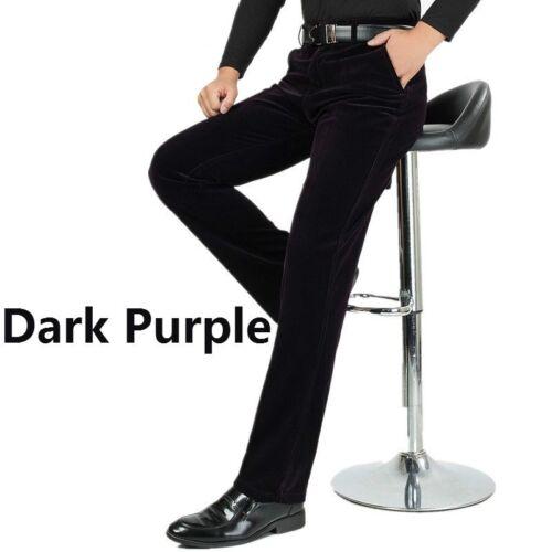 Men Corduroy Pleuche Pants Striped Trousers Long Straight Legs High Waist Loose