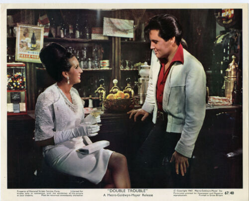 DOUBLE TROUBLE original color 1967 lobby still photo ELVIS PRESLEY/YVONNE ROMAIN