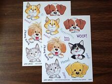 2 Suzy's Zoo sticker sheets: Woof woof and meow meow!