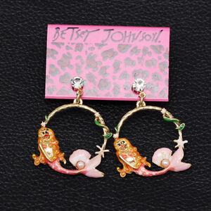 Women-039-s-Pink-Enamel-Crystal-Mermaid-Dangle-Earbob-Betsey-Johnson-Earrings-Gift