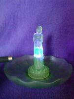 "Bohemian art deco frosted green uranium glass ""Stump Lady"" bowl & flower frog"