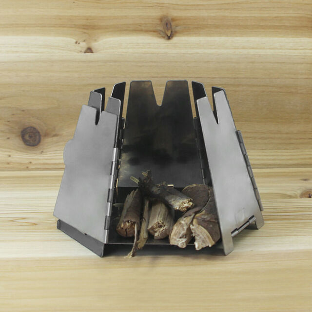 New Outdoor Picnic Stainless Steel Wood Stove Hexagon Folding Camp Burner G0T4
