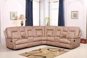 Details about Betsy Furniture Large Microfiber Reclining Sectional Living  Room Sofa Latte 8038