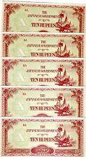 LOT Burma, 5 x 10 Rupees, (1942-1944), Pick 16b, WWII, JIM UNC