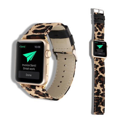 40/44mm Leopard Canvas+Leather iWatch Band Women Strap for