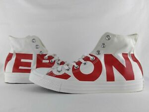 c804d065ae23 Converse Chuck Taylor All Star High Wordmark White Cream Red Spell ...