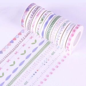 10 Roll 10M Hand Painted Washi Tape Scrapbooking Craft Paper Sticky DIY Sticker