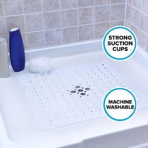 Large Non-Slip Shower Mat with Drain Holes: White Square Shower Mat