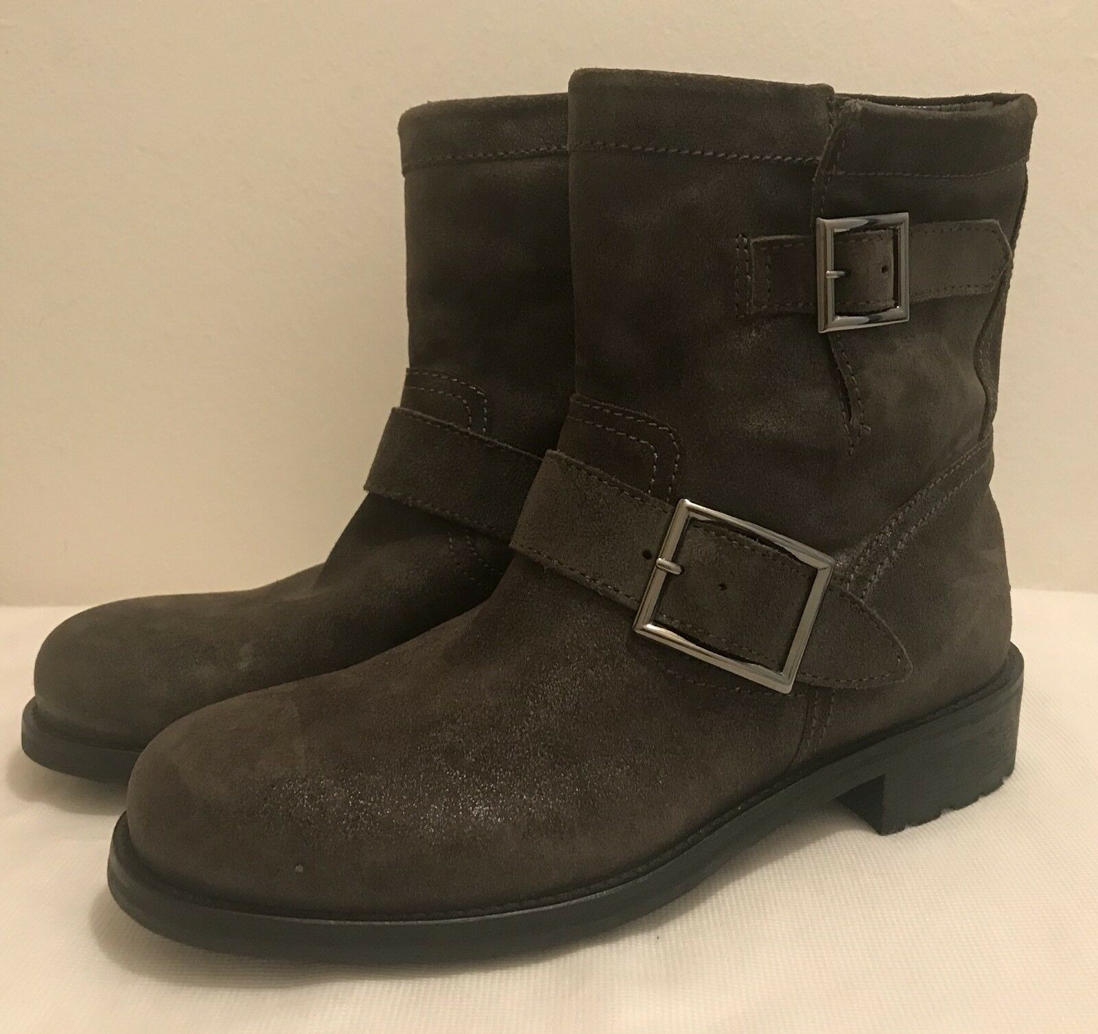 Jimmy Choo Mist Shimmered Suede Youth Youth Youth Buckled Biker Boots NWOB 842761