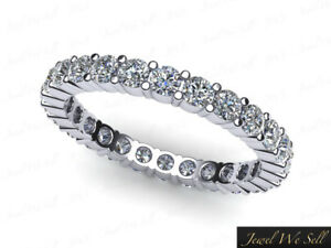 0-75Ct-Round-Cut-Diamond-Shared-Prong-Eternity-Band-Ring-10k-White-Gold-GH-I1