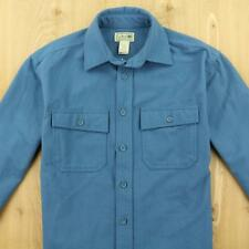 LL BEAN chamois flannel camp shirt sz SMALL solid blue work