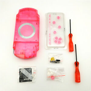 Transparent-Clear-Pink-Housing-Shell-Case-Kit-for-Sony-PSP-1000