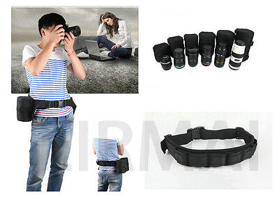 6 Lens Bag + 1 Waist Belt DSLR Camera Lens Protector Pouch Case Bag  For Camera