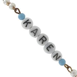 Karen - Blue Glass Faux Pearl Name Link Bracelet - Circa 1950-60