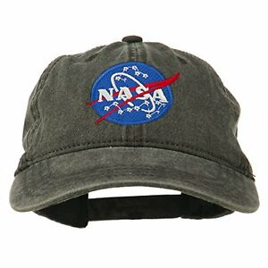 6db7f7f2395 Image is loading Nasa-Insignia-Embroidered-Pigment-Dyed-Cap-Black-Osfm-