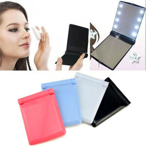 Makeup-Mirror-Compact-Cosmetic-Folding-Portable-Pocket-with-8-LED-Lights-Lamps