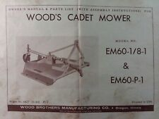 Woods Cadet 3 Point Hitch Rotary Mower Em60 18 1 Em60 P 1 Owner Amp Parts Manual
