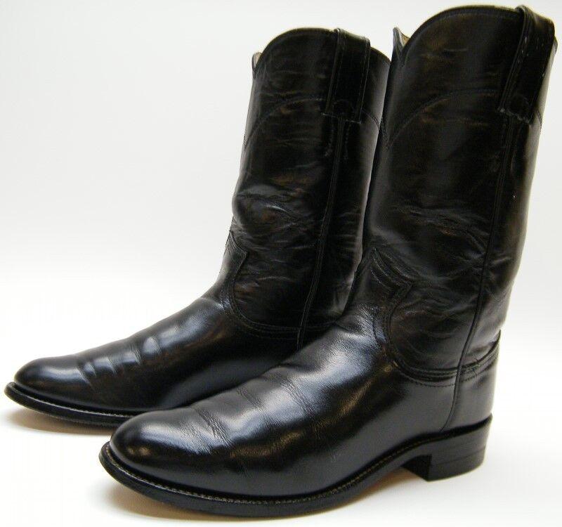 WOMENS JUSTIN L3703 BLACK LEATHER ROPER COWBOY WESTERN BOOTS SZ 5 B 5B USA MADE