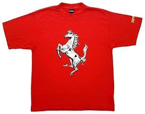 Vintage Ferrari Prancing Horse Logo Tee Red Size XL Mens T-Shirt 1999
