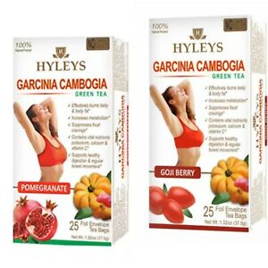 2 Packs Hyleys Slim Tea Garcinia Cambogia Pomegranate And Goji